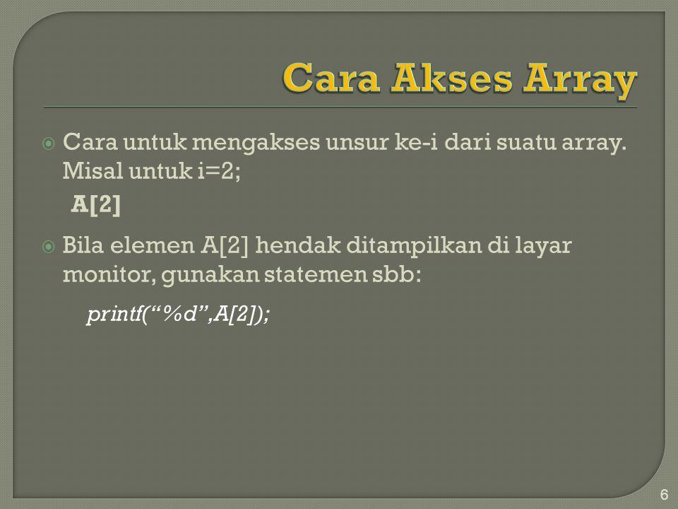  Cara untuk mengakses unsur ke-i dari suatu array. Misal untuk i=2; A[2]  Bila elemen A[2] hendak ditampilkan di layar monitor, gunakan statemen sbb