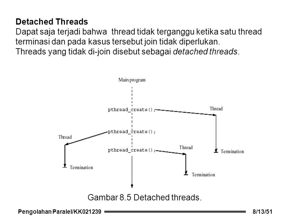 Detached Threads Dapat saja terjadi bahwa thread tidak terganggu ketika satu thread terminasi dan pada kasus tersebut join tidak diperlukan.