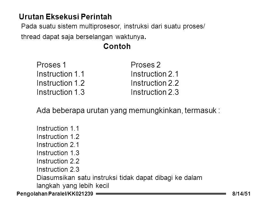 Urutan Eksekusi Perintah Pada suatu sistem multiprosesor, instruksi dari suatu proses/ thread dapat saja berselangan waktunya.