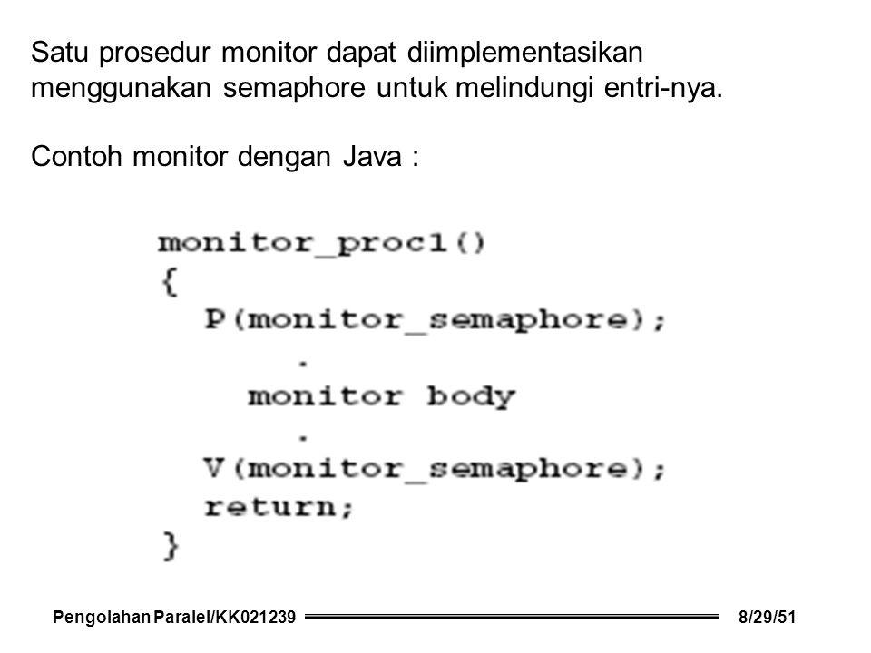 Satu prosedur monitor dapat diimplementasikan menggunakan semaphore untuk melindungi entri-nya.