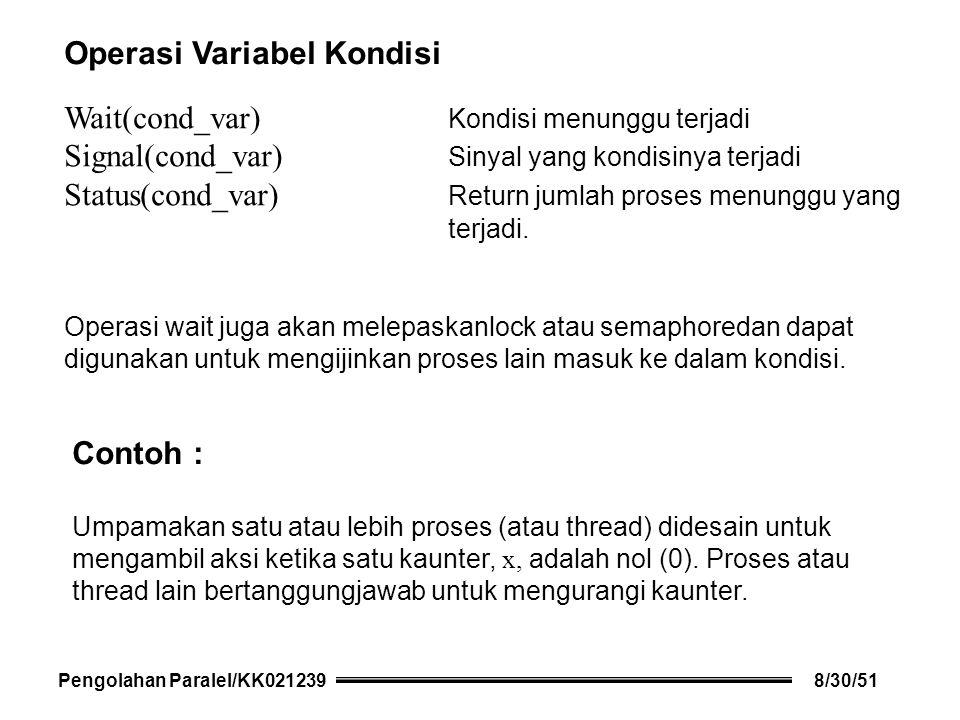 Operasi Variabel Kondisi Wait(cond_var) Kondisi menunggu terjadi Signal(cond_var) Sinyal yang kondisinya terjadi Status(cond_var) Return jumlah proses menunggu yang terjadi.