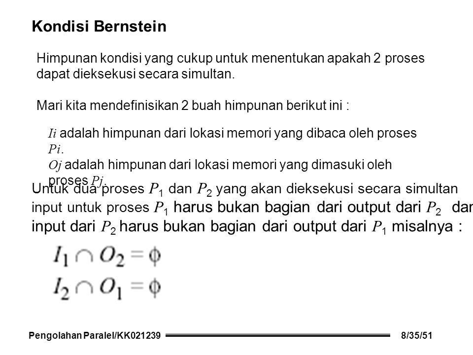 Kondisi Bernstein Himpunan kondisi yang cukup untuk menentukan apakah 2 proses dapat dieksekusi secara simultan.