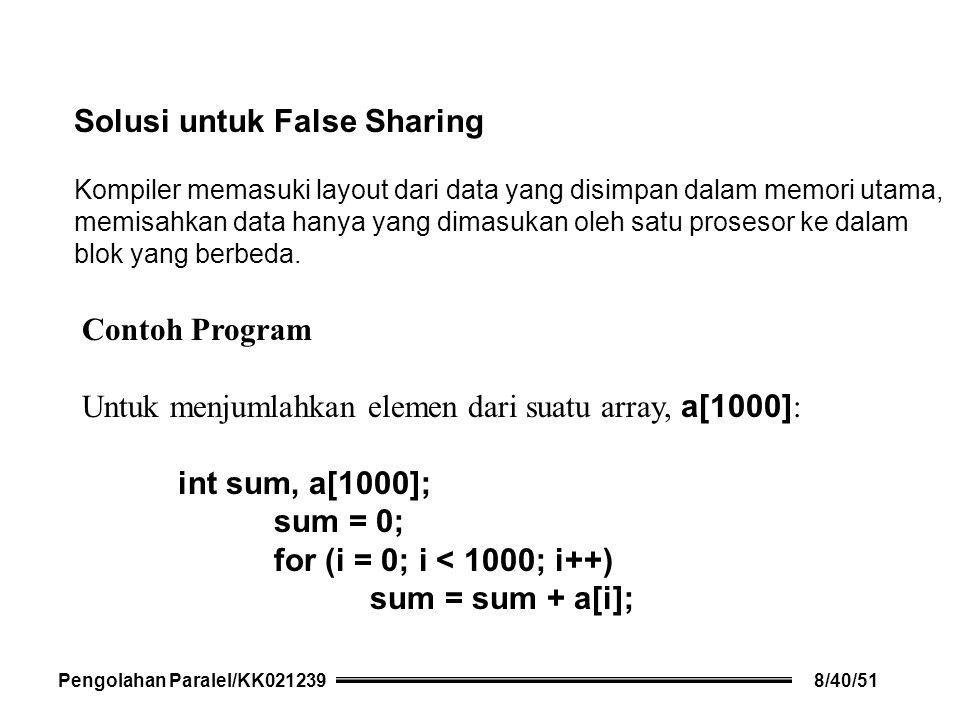 Solusi untuk False Sharing Kompiler memasuki layout dari data yang disimpan dalam memori utama, memisahkan data hanya yang dimasukan oleh satu prosesor ke dalam blok yang berbeda.