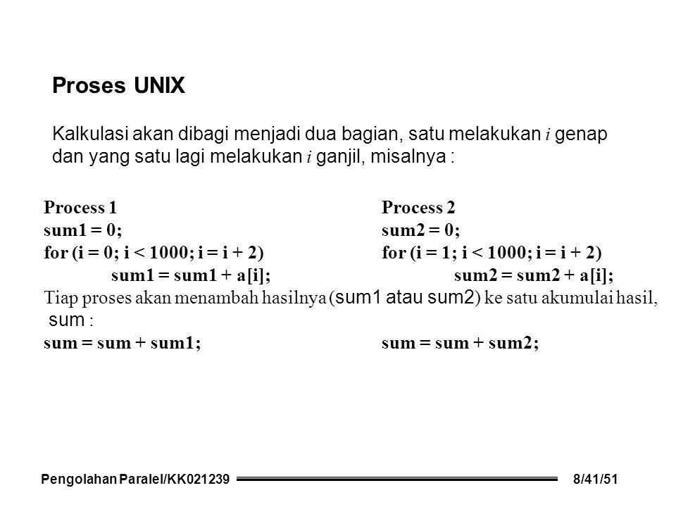 Proses UNIX Kalkulasi akan dibagi menjadi dua bagian, satu melakukan i genap dan yang satu lagi melakukan i ganjil, misalnya : Process 1 Process 2 sum1 = 0; sum2 = 0; for (i = 0; i < 1000; i = i + 2) for (i = 1; i < 1000; i = i + 2) sum1 = sum1 + a[i]; sum2 = sum2 + a[i]; Tiap proses akan menambah hasilnya ( sum1 atau sum2 ) ke satu akumulai hasil, sum : sum = sum + sum1; sum = sum + sum2; Pengolahan Paralel/KK0212398/41/51