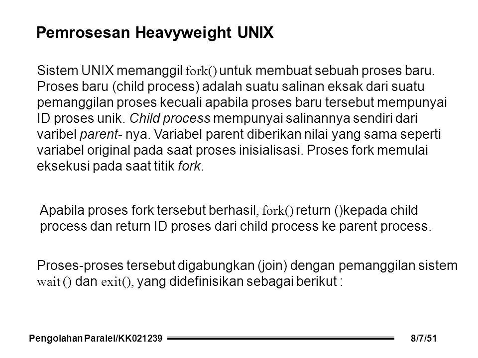 Sistem UNIX memanggil fork() untuk membuat sebuah proses baru.