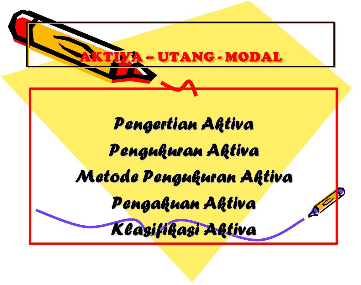 AKTIVA – UTANG - MODAL Pengertian Aktiva Pengukuran Aktiva Metode Pengukuran Aktiva Pengakuan Aktiva Klasifikasi Aktiva