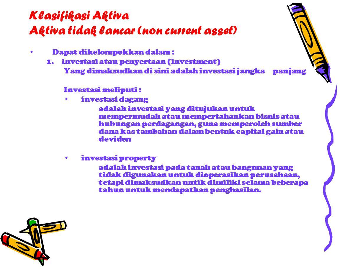 Klasifikasi Aktiva Aktiva tidak lancar (non current asset) Dapat dikelompokkan dalam : 1.