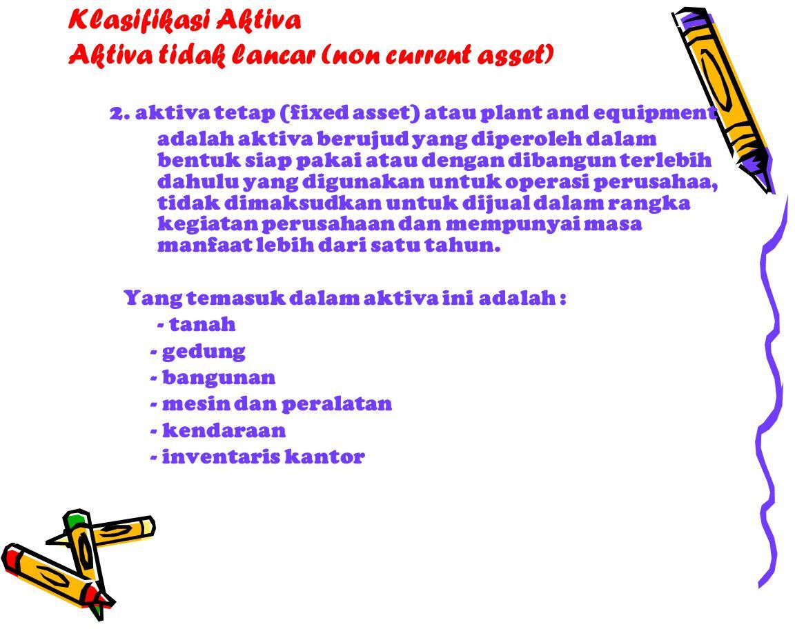 Klasifikasi Aktiva Aktiva tidak lancar (non current asset) 2.