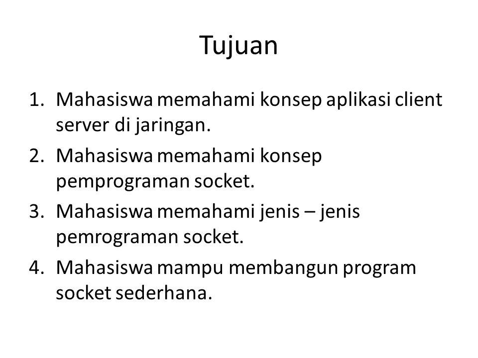 Tujuan 1.Mahasiswa memahami konsep aplikasi client server di jaringan.