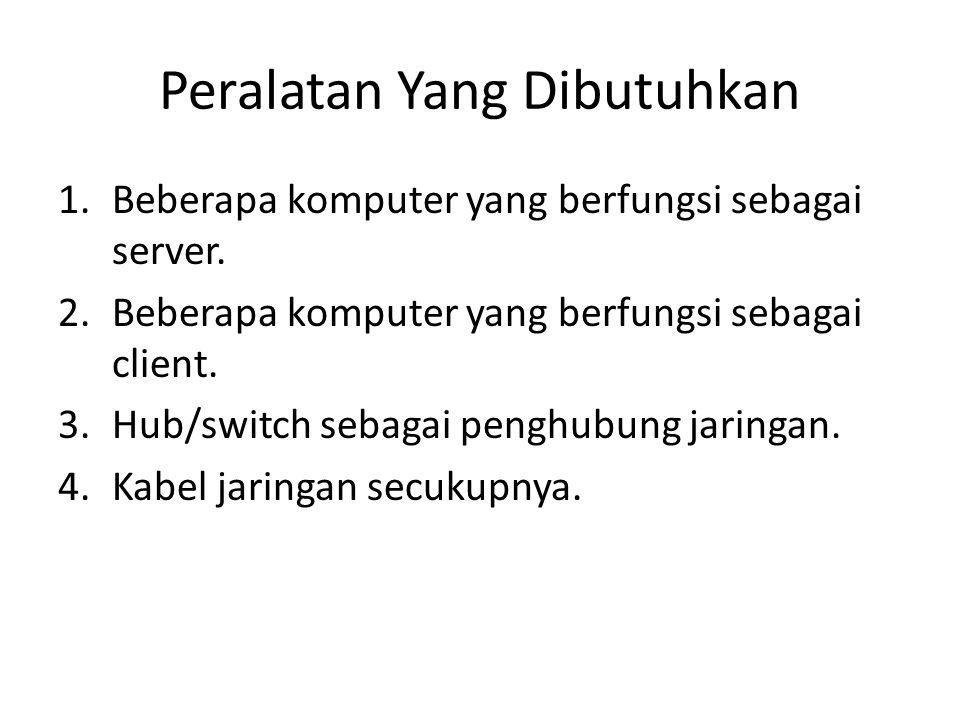 Peralatan Yang Dibutuhkan 1.Beberapa komputer yang berfungsi sebagai server.