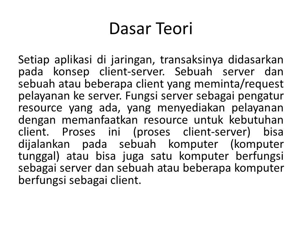 Dasar Teori Setiap aplikasi di jaringan, transaksinya didasarkan pada konsep client-server.
