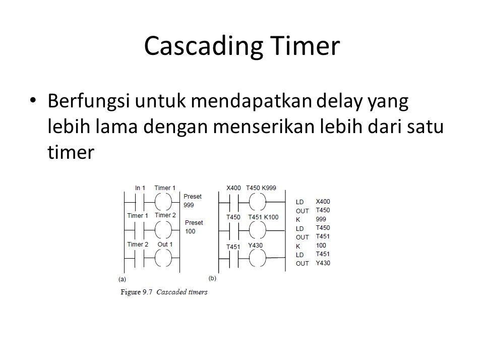 Cascading Timer Berfungsi untuk mendapatkan delay yang lebih lama dengan menserikan lebih dari satu timer