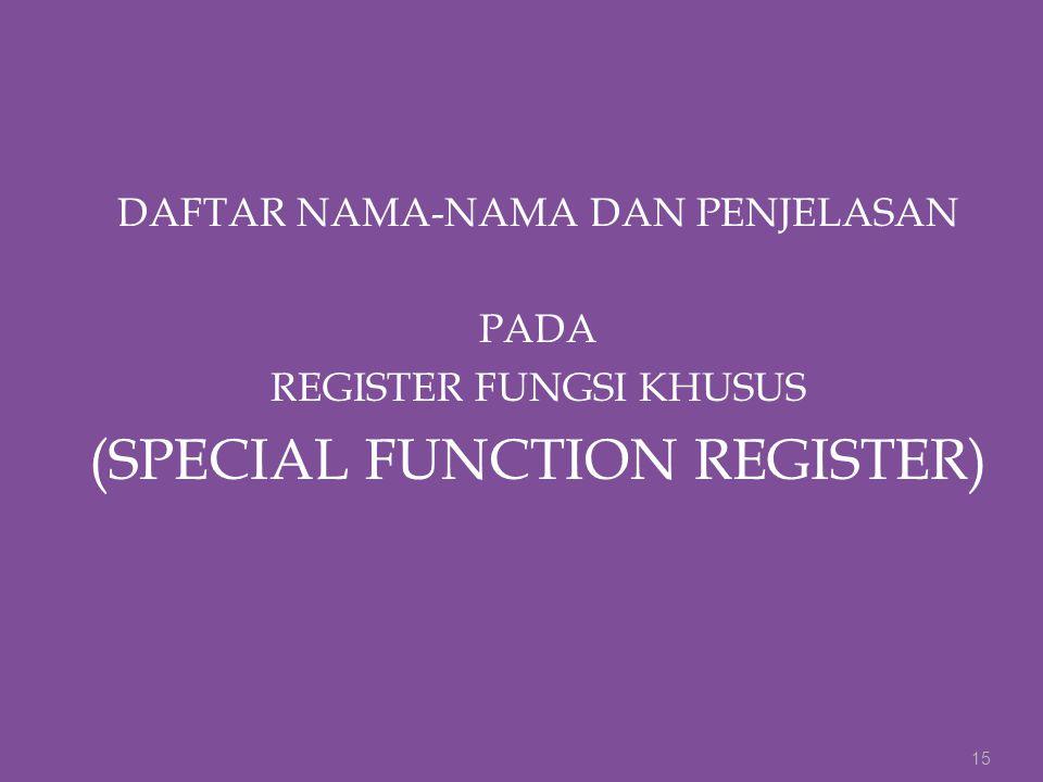 DAFTAR NAMA-NAMA DAN PENJELASAN PADA REGISTER FUNGSI KHUSUS (SPECIAL FUNCTION REGISTER) 15