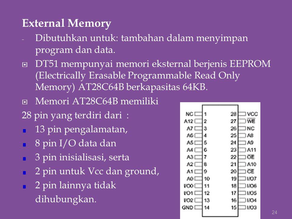 External Memory - Dibutuhkan untuk: tambahan dalam menyimpan program dan data.  DT51 mempunyai memori eksternal berjenis EEPROM (Electrically Erasabl
