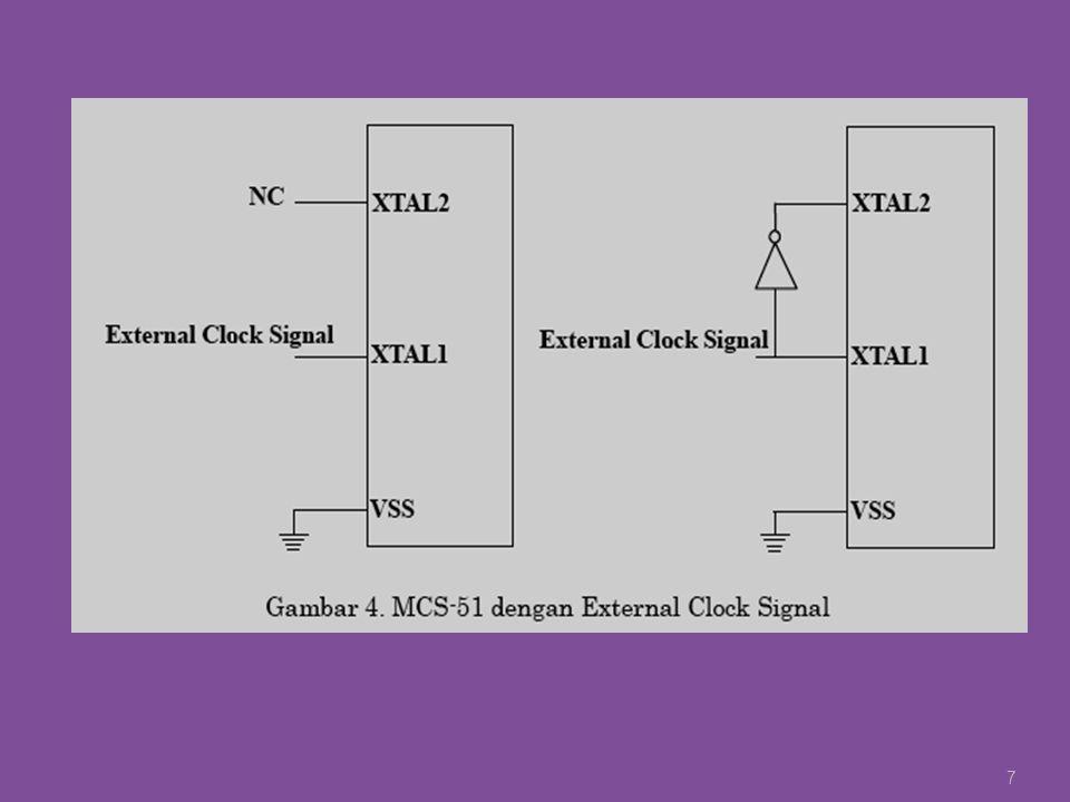 Pembacaan Data dari Memori Eksternal Instruksi MOV DPTR,#[address] ; Penentuan lokasi data yang akan dibaca MOVX A,@DPTR ; Perintah pembacaan data sekaligus mengambil datatersebut dan disimpan ke Akumulator A 28