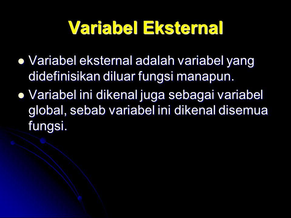 Variabel Eksternal Variabel eksternal adalah variabel yang didefinisikan diluar fungsi manapun. Variabel eksternal adalah variabel yang didefinisikan