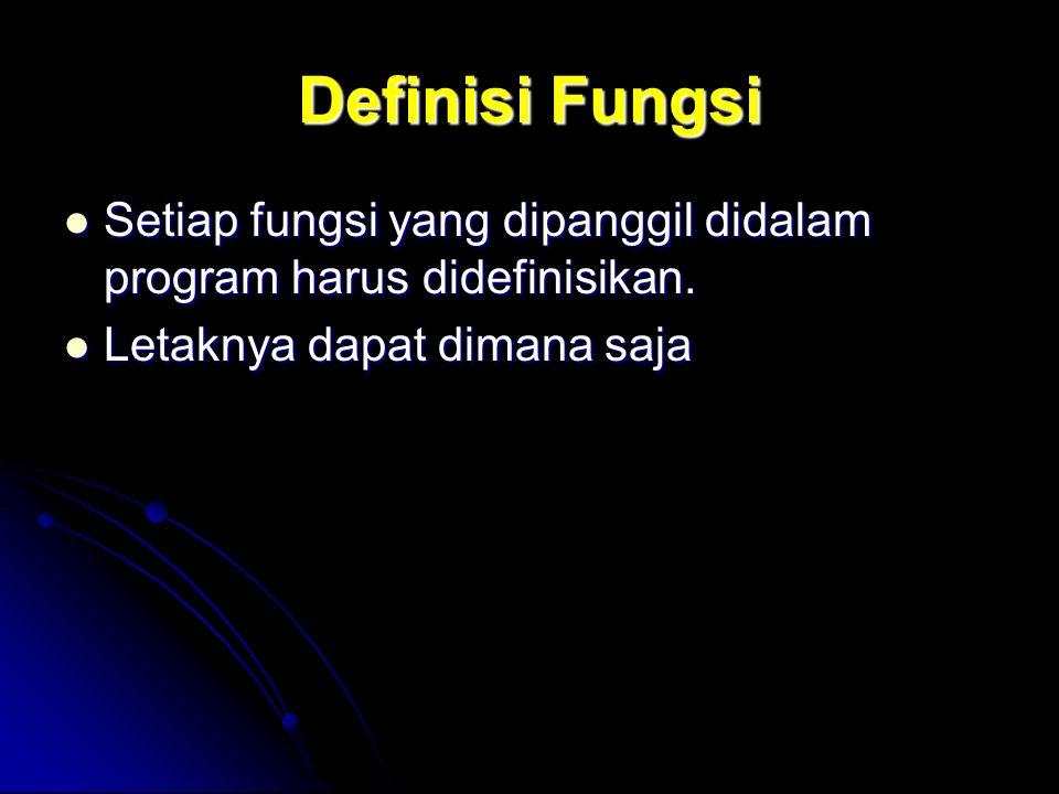 Definisi Fungsi Setiap fungsi yang dipanggil didalam program harus didefinisikan. Setiap fungsi yang dipanggil didalam program harus didefinisikan. Le