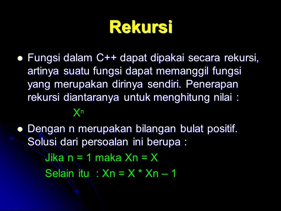 Rekursi Fungsi dalam C++ dapat dipakai secara rekursi, artinya suatu fungsi dapat memanggil fungsi yang merupakan dirinya sendiri. Penerapan rekursi d