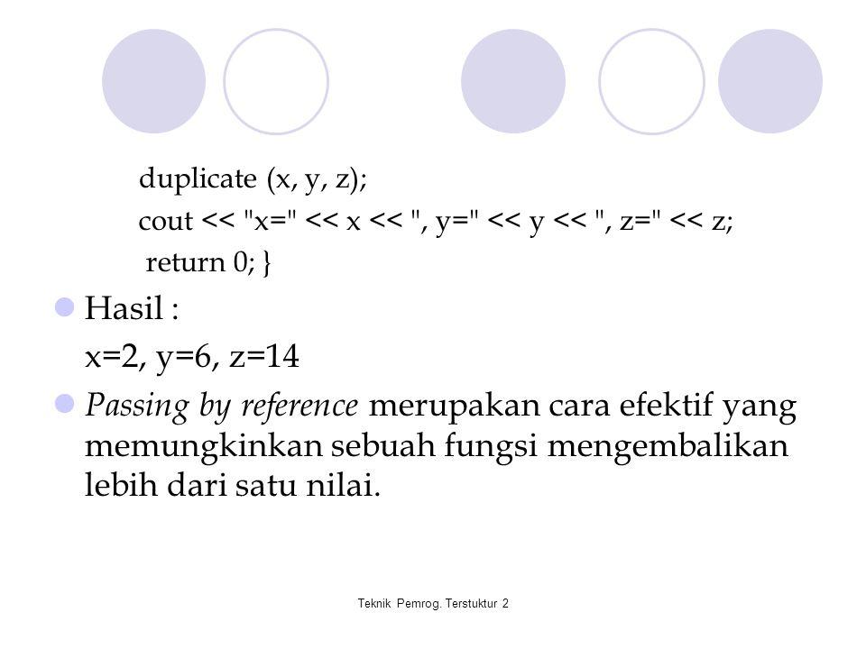 Teknik Pemrog. Terstuktur 2 duplicate (x, y, z); cout <<
