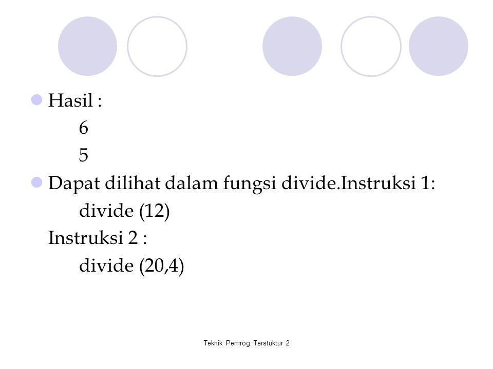 Teknik Pemrog. Terstuktur 2 Hasil : 6 5 Dapat dilihat dalam fungsi divide.Instruksi 1: divide (12) Instruksi 2 : divide (20,4)