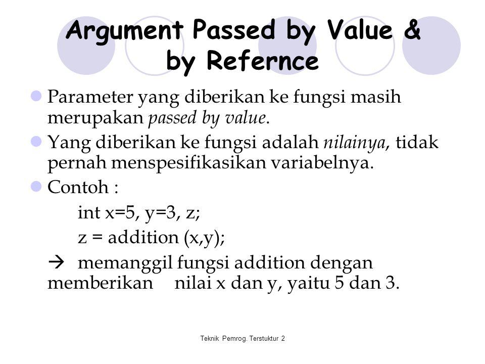 Teknik Pemrog. Terstuktur 2 Argument Passed by Value & by Refernce Parameter yang diberikan ke fungsi masih merupakan passed by value. Yang diberikan