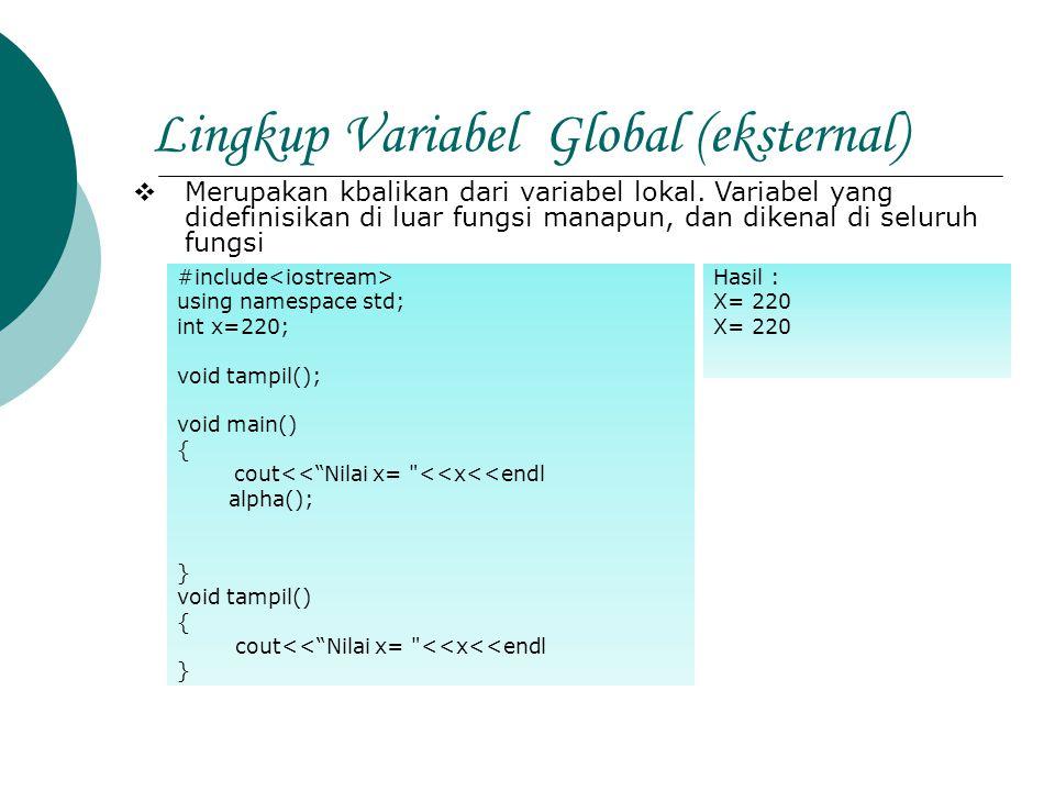 Lingkup Variabel Global (eksternal)  Merupakan kbalikan dari variabel lokal. Variabel yang didefinisikan di luar fungsi manapun, dan dikenal di selur