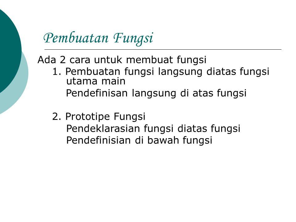 Pembuatan Fungsi Ada 2 cara untuk membuat fungsi 1. Pembuatan fungsi langsung diatas fungsi utama main Pendefinisan langsung di atas fungsi 2. Prototi