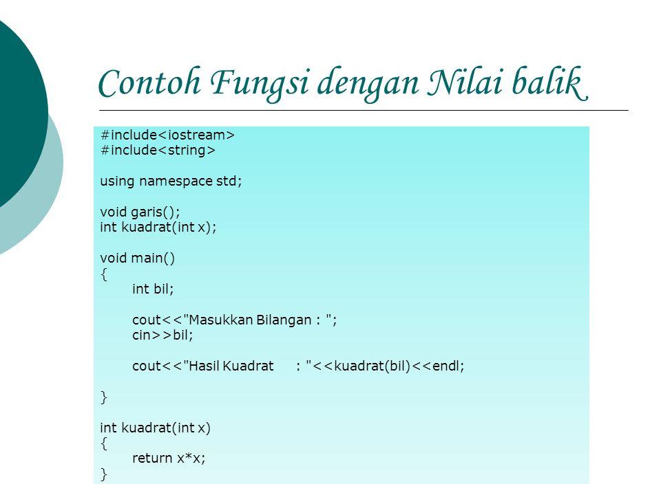 Contoh Fungsi dengan Nilai balik #include using namespace std; void garis(); int kuadrat(int x); void main() { int bil; cout<<