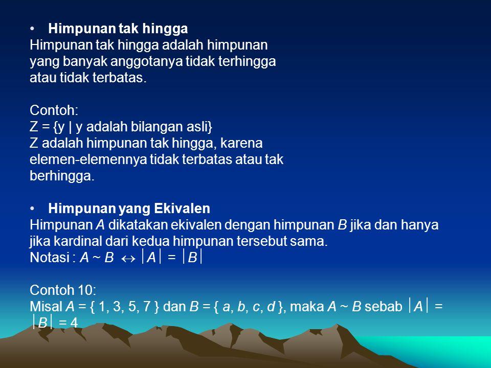 Himpunan Saling Lepas Dua himpunan A dan B dikatakan saling lepas (disjoint) jika keduanya tidak memiliki elemen yang sama.