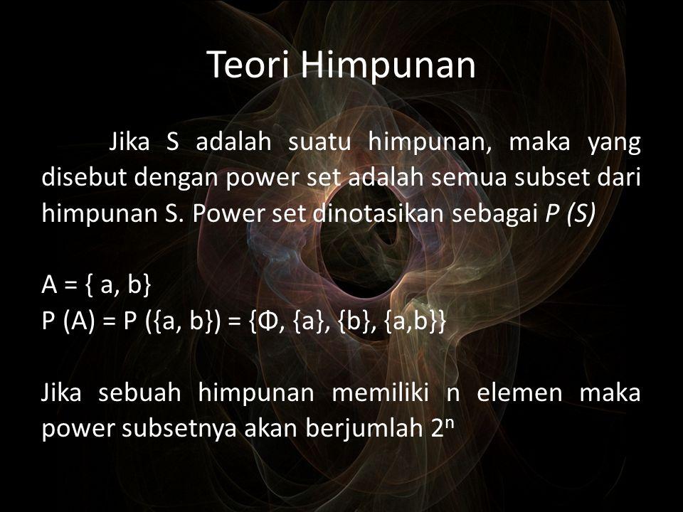 Teori Himpunan Jika S adalah suatu himpunan, maka yang disebut dengan power set adalah semua subset dari himpunan S. Power set dinotasikan sebagai P (
