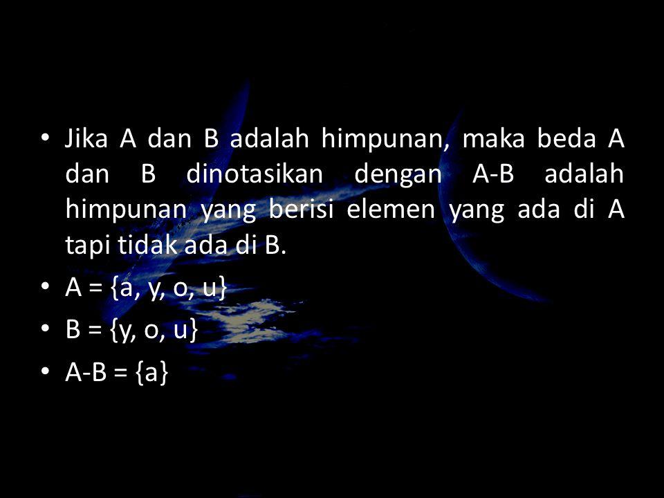 Jika A dan B adalah himpunan, maka beda A dan B dinotasikan dengan A-B adalah himpunan yang berisi elemen yang ada di A tapi tidak ada di B. A = {a, y