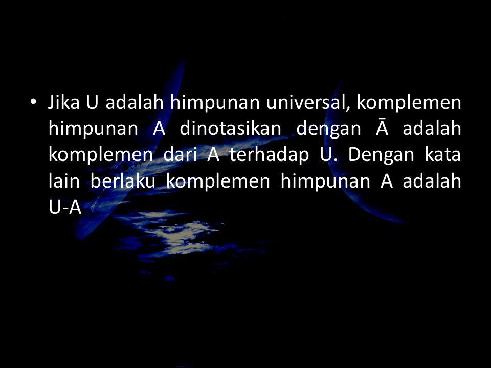 Jika U adalah himpunan universal, komplemen himpunan A dinotasikan dengan Ā adalah komplemen dari A terhadap U. Dengan kata lain berlaku komplemen him
