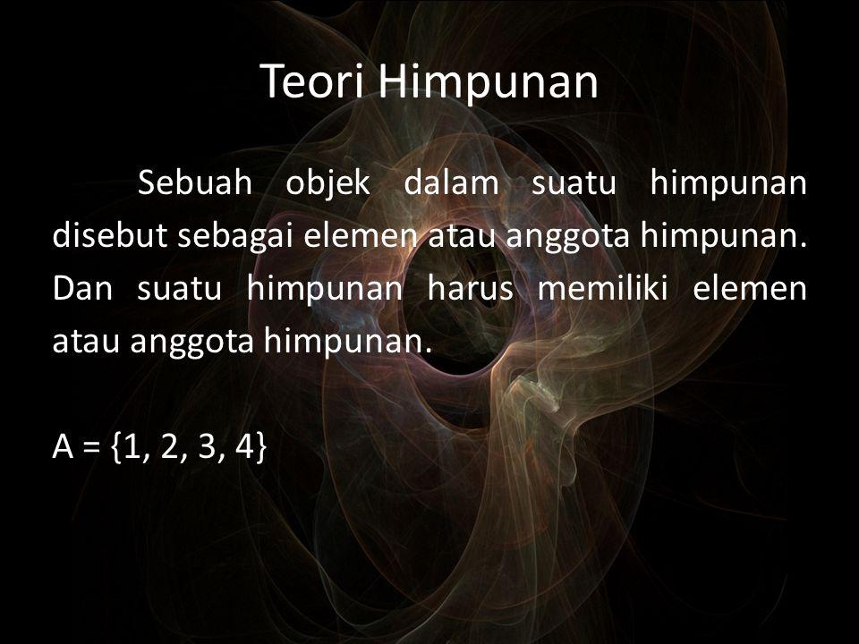 Teori Himpunan Sebuah objek dalam suatu himpunan disebut sebagai elemen atau anggota himpunan. Dan suatu himpunan harus memiliki elemen atau anggota h
