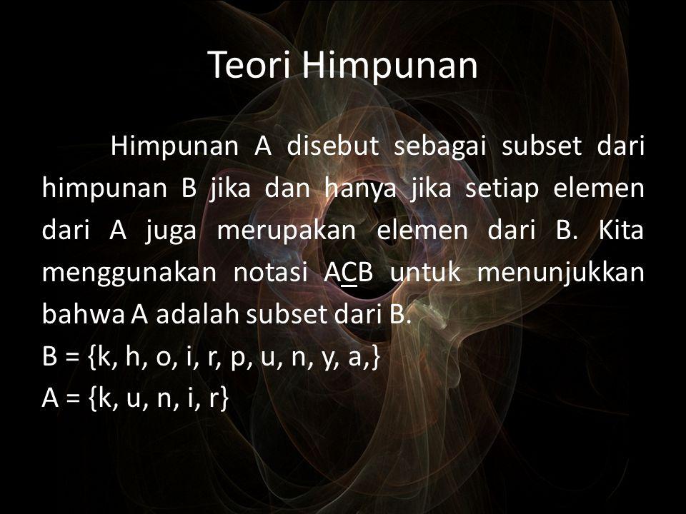 Teori Himpunan Himpunan A disebut sebagai subset dari himpunan B jika dan hanya jika setiap elemen dari A juga merupakan elemen dari B. Kita menggunak