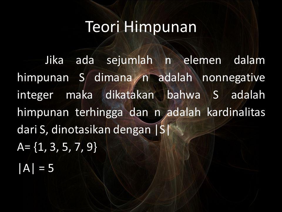 Teori Himpunan Jika ada sejumlah n elemen dalam himpunan S dimana n adalah nonnegative integer maka dikatakan bahwa S adalah himpunan terhingga dan n