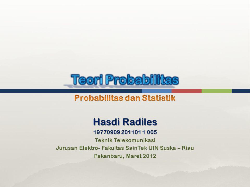 Hasdi Radiles 19770909 201101 1 005 Teknik Telekomunikasi Jurusan Elektro- Fakultas SainTek UIN Suska – Riau Pekanbaru, Maret 2012