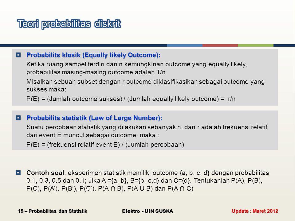 Update : Maret 2012 Elektro - UIN SUSKA 15 – Probabilitas dan Statistik  Probabilits klasik (Equally likely Outcome): Ketika ruang sampel terdiri dar