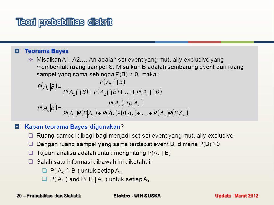  Teorama Bayes  Misalkan A1, A2,… An adalah set event yang mutually exclusive yang membentuk ruang sampel S. Misalkan B adalah sembarang event dari