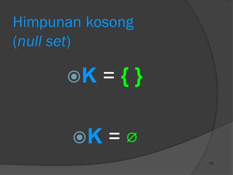 14 Himpunan kosong (null set)  K = { }  K = ⌀
