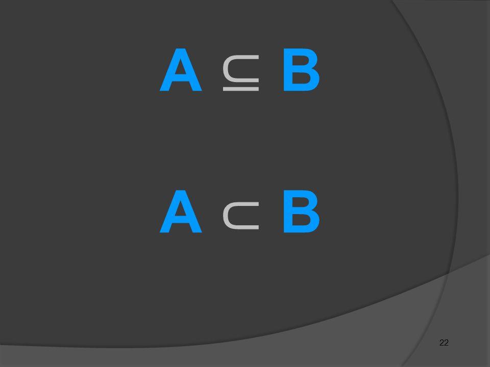 22 A ⊆ BA ⊂ BA ⊆ BA ⊂ B