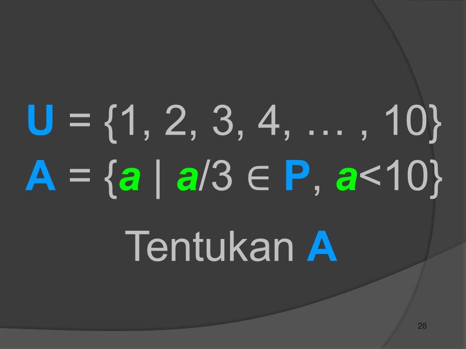 28 Tentukan A U = {1, 2, 3, 4, …, 10} A = {a | a/3 ∈ P, a<10}