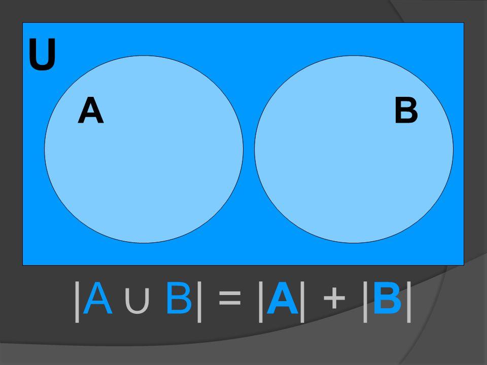 U A |A ∪ B| = |A| + |B| B