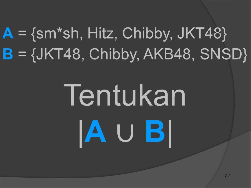 32 A = {sm*sh, Hitz, Chibby, JKT48} B = {JKT48, Chibby, AKB48, SNSD} Tentukan |A ∪ B|