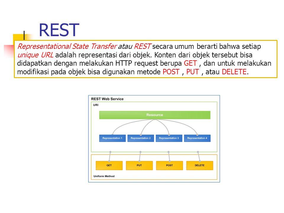 REST Representational State Transfer atau REST secara umum berarti bahwa setiap unique URL adalah representasi dari objek. Konten dari objek tersebut