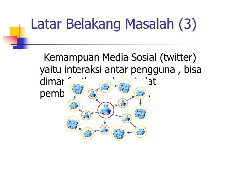 Latar Belakang Masalah (3) Kemampuan Media Sosial (twitter) yaitu interaksi antar pengguna, bisa dimanfaatkan sebagai alat pembelajaran kolaborasi.