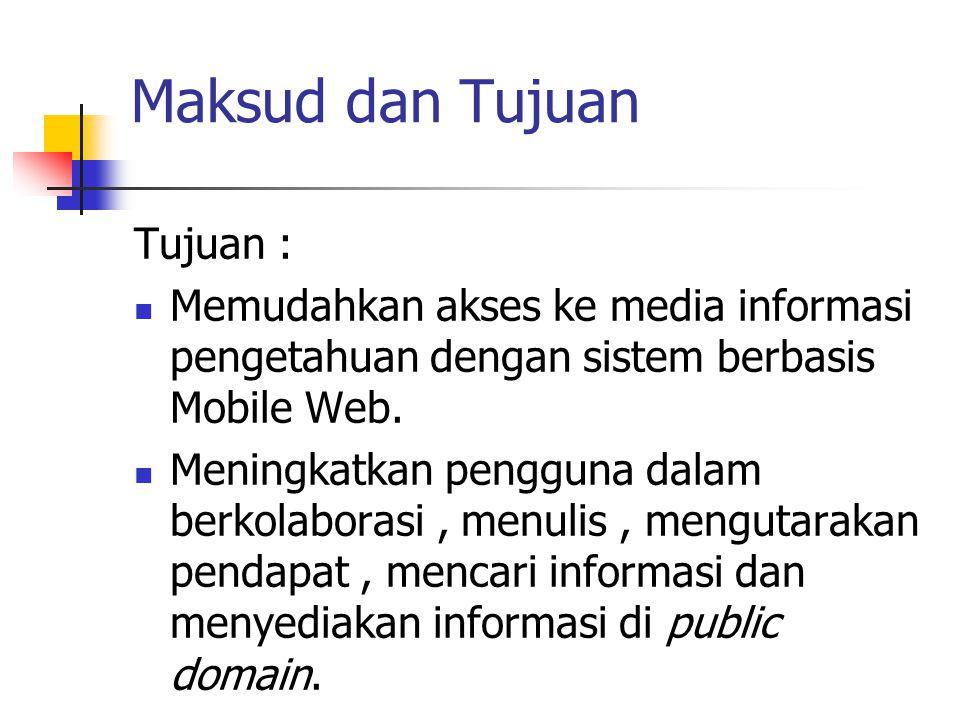 Maksud dan Tujuan Tujuan : Memudahkan akses ke media informasi pengetahuan dengan sistem berbasis Mobile Web. Meningkatkan pengguna dalam berkolaboras