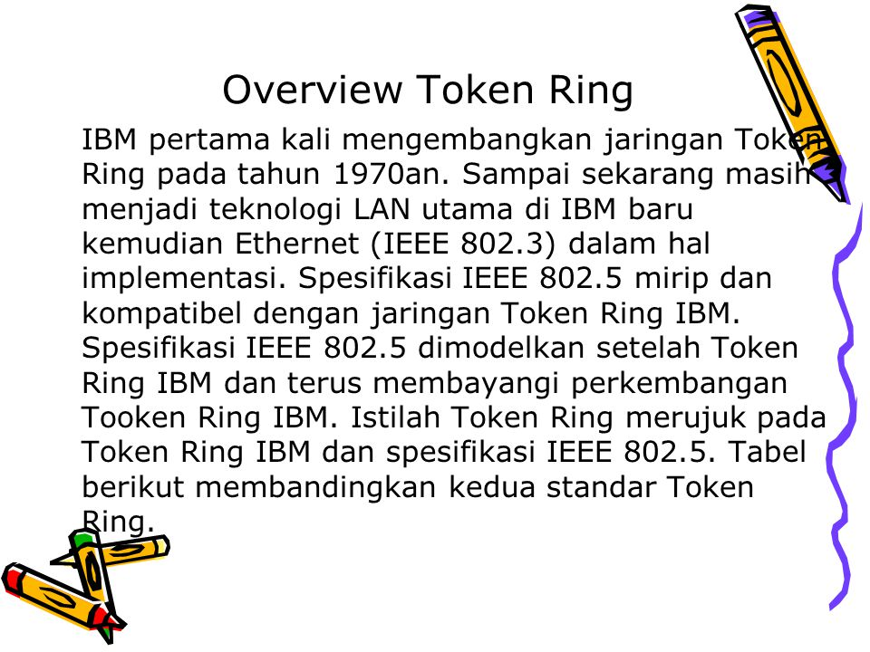Overview Token Ring IBM pertama kali mengembangkan jaringan Token Ring pada tahun 1970an. Sampai sekarang masih menjadi teknologi LAN utama di IBM bar