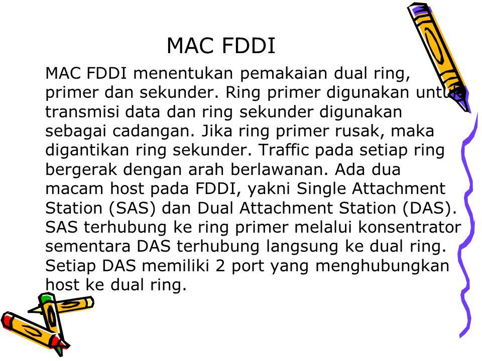 MAC FDDI MAC FDDI menentukan pemakaian dual ring, primer dan sekunder. Ring primer digunakan untuk transmisi data dan ring sekunder digunakan sebagai