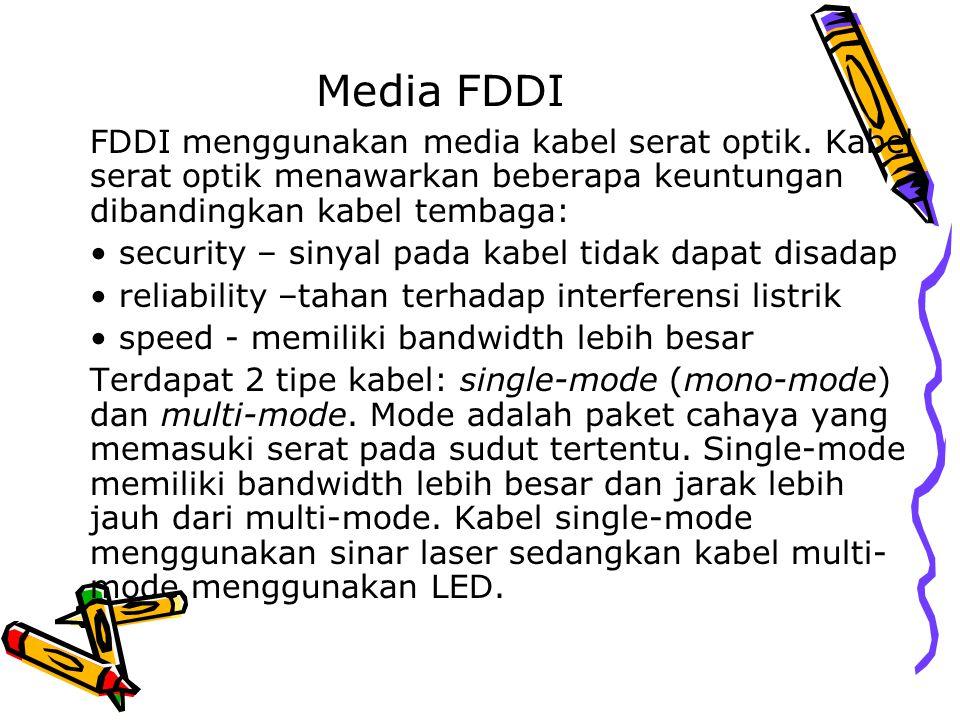 Media FDDI FDDI menggunakan media kabel serat optik. Kabel serat optik menawarkan beberapa keuntungan dibandingkan kabel tembaga: security – sinyal pa