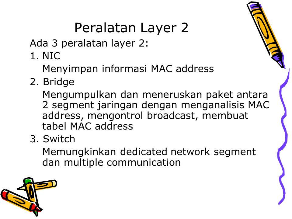 Peralatan Layer 2 Ada 3 peralatan layer 2: 1.NIC Menyimpan informasi MAC address 2. Bridge Mengumpulkan dan meneruskan paket antara 2 segment jaringan